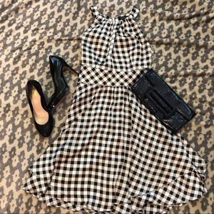 NWOT💎 WHBM B&W Gingham Halter Fit & Flare Dress